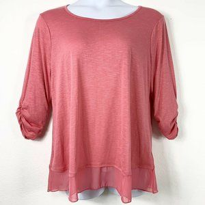 Style Co XL Knit Top Sheer Trim 1/2 Sleeve NWT